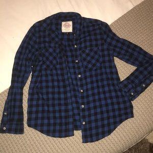 Blue & black button up flannel 100% cotton